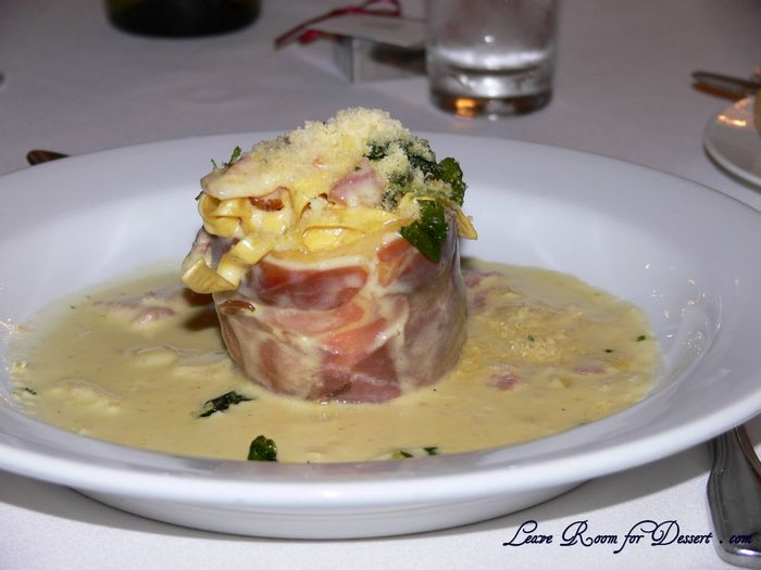 Fettucine wrapped with Prosciutto and topped with Carbonara