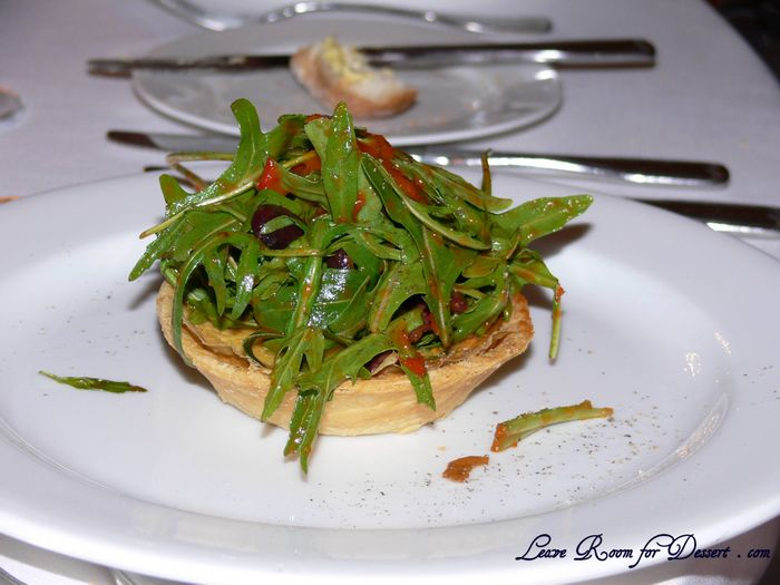 Three Cheese Tart, Rocket and Olive Salad with Capsicum Jam