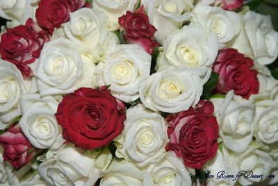 Bridal Bouquet – Ivory Roses with a few double delights
