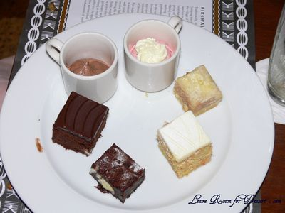 My choice of desserts... Chocolate Mousse, Raspberry Mousse, Slice, Carrot Cake, Chocolate Brownie and Chocolate Cake
