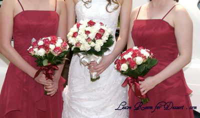 Bridal and Bridesmaid dresses with Rose Bouquets