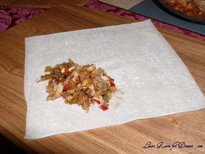 Place Filling on Spring Roll Sheet