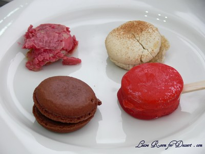 Macaron flavours, clockwise from back left: Baklava, Rice Pudding, Toffe Apple, Dark Chocolate