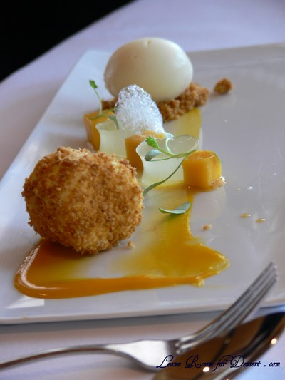 Mango - cheese cake with ginger crumble, lime jelly and roasted pineapple sorbet