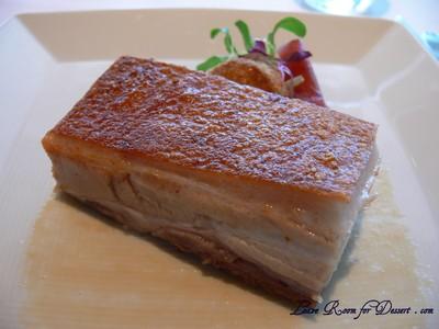 Pork Belly - Kurobuta sweet pork belly with pork croquette, paradise pears and pear chutney