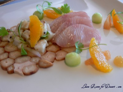 Kingfish - sashimi and cerviche with octopus carpaccio, cucumber and citrus