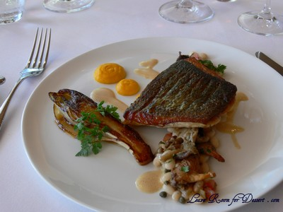Trevalla - roasted with glazed witlof, chesnut mushrooms, white beans and chicken jus