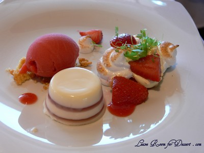 Strawberry - poached strawberries with panna cotta, clotted cream and shortbread