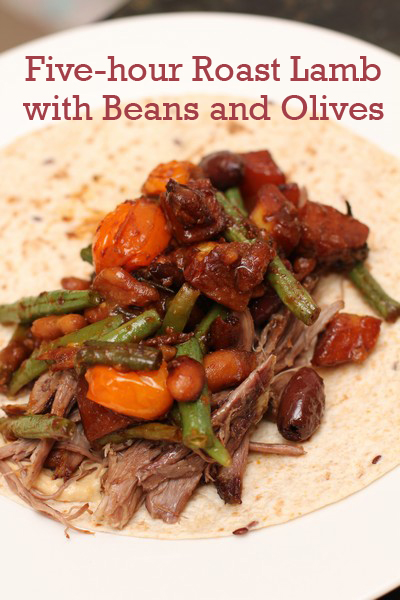 Five Hour Roast Lamb with Beans and Olives